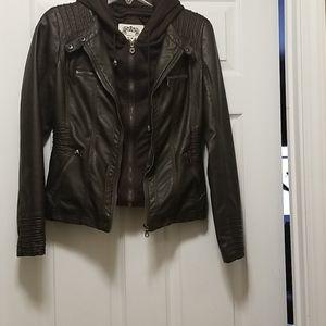 Women's hooded pleather jacket